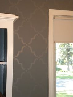 Semi Gloss Wall Stencil Over Flat Paint For Small Bathroom