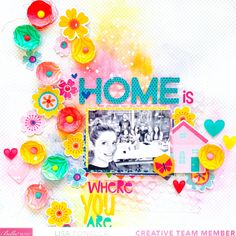 Scrapbook Page Layouts, Scrapbook Pages, Yellow Tile, Sweet Home Collection, Punch Out, Grid Design, Little Flowers, Abstract Flowers, Paper Background