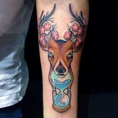 My special deer tattoo with flowers