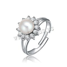 South Sea Shell Finger Ring, Zinc Alloy, with South Sea Shell, Flower, platinum plated, adjustable & with Austria rhinestone, nickel, lead & cadmium free, 22x17mm, US Ring Size:6-9,china wholesale jewelry beads