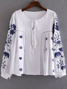 White Floral Embroidery Blouse With Tie