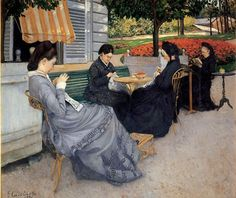 """Gustave Caillebotte's """"Portraits in the Countryside"""" (1875) featuring his mother, aunt, cousin, and a family friend."""
