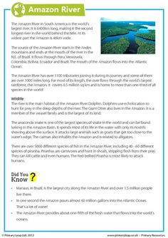 This year 6 geography worksheet includes interesting facts about the Amazon River. Children read the comprehension and answer the questions. www.primaryleap.co.uk