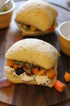 Winter Vegetable Sandwich with Pesto and Whipped Goat Cheese