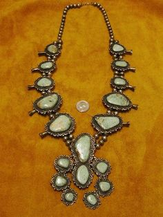 Sterling Silver and Turquoise Squash Blossom Necklace, c.1950, Navajo handmade