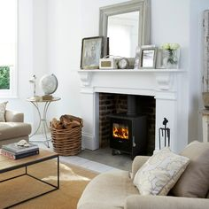 wood stove and surround