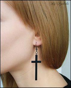 Black Cross Earrings / Polymer clay dangle earrings / by ByIzabela