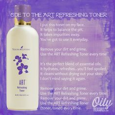 Wanna hear me SING this Ode to the ART Refreshing Toner? Click through to watch the video on step 3 in my natural skincare routine using Young Living products.  Order your essential oils with ID# 1488788. For more great info on Young Living therapeutic grade Essential Oils, follow my blog at www.oilytreasures.com #youngliving #essentialoils #oilyfamilies