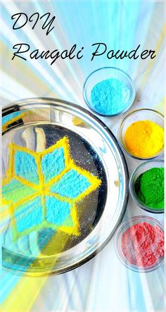 Homemade Art Supplies - make Rangoli powder to create beautiful artwork. You need only 3 ingredients. Useful video included as well.