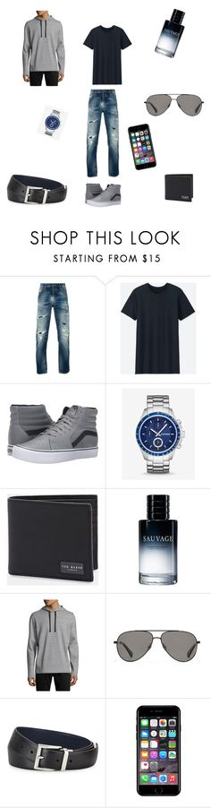 """""""2.08.2017 #3"""" by ania-chudzik on Polyvore featuring Nudie Jeans Co., Uniqlo, Vans, Express, Ted Baker, Christian Dior, Vince, Vilebrequin, Prada i Off-White"""