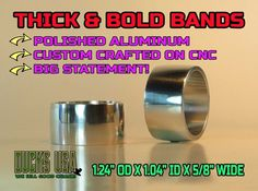 """Duck Call Bands BIG /& BOLD 3-PACK  Custom Made on our CNC 1.25/"""" OD x 5//8/"""" WIDE"""