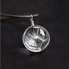 Crystal Glass Ball Dandelion Long Strip Leather Pendant Necklace