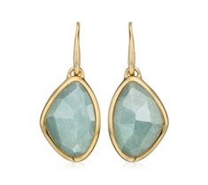 Siren Teardrop Earrings in 18ct Gold Plated Vermeil on Sterling Silver with Aquamarine | Jewellery by Monica Vinader