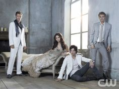 THE VAMPIRE DIARIES Pictured (L-R): Joseph Morgan as Klaus, Nina Dobrev as Elena, Ian Somerhalder as Damon, and Paul Wesley as Stefan. Photo credit: Frank Ockenfels 3/The CW © 2011 The CW Network, LLC. All rights reserved.
