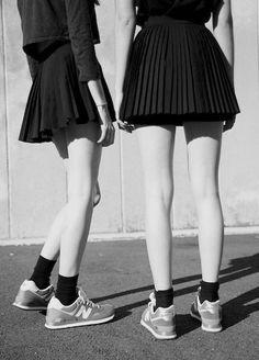pleated skirts / socks+sneakers