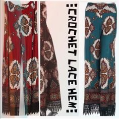 BEAUTIFUL PALAZZOS WITH CROCHET LACE HEM! LOVE THESE PANTS! 100% POLYESTER IN TEAL, BURGUNDY & BLACK. Availability:                                                 ♦️TEAL: 2X - 1, 3X - 1                                                            ♦️BURGUNDY: 2X - 2, 3X - 1                                                              ♦️BLACK: 2X - 1, 3X - 1                                                      PLEASE DO NOT BUY THIS LISTING! I will personalize one for you.♦️SMALLER SIZES IN…
