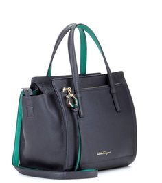 Small Amy navy leather tote