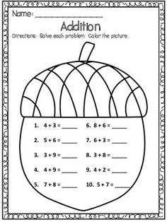 FREE Acorn Addition Worksheet - Just click on the acorn to download this freebie - #autumn
