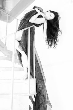 """""""She was not to look beyond herself for the meaning of her life. Photography Poses Women, Creative Photography, Fashion Photography, Woman Photography, Stairway Photos, High Fashion Shoots, Long Dark Hair, Girl Senior Pictures, Photoshoot Inspiration"""