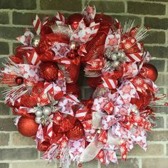 Christmas Deco Mesh Wreath, Candy Cane Wreath, Snowflake Ribbon Wreath, Wreath for Winter Holidays, Winter Front Door Wreath $74