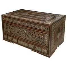 Anglo-Indian Mother of Pearl Trunk | From a unique collection of antique and modern blanket chests at http://www.1stdibs.com/furniture/storage-case-pieces/blanket-chests/
