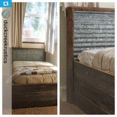Rustic Headboard With Wood And Corrugated Tin Inlay Did