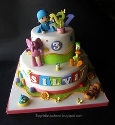 Pocoyo Cake by SogniDiZucchero Fancy Cakes, Cute Cakes, Cake Decorating Tutorials, Cookie Decorating, Beautiful Cakes, Amazing Cakes, Fondant Cakes, Cupcake Cakes, Easter Birthday Party