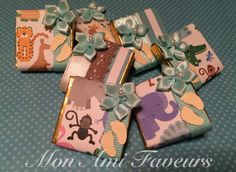 Safari themed baby shower favors, wrapped chocolate mint truffles, yum!