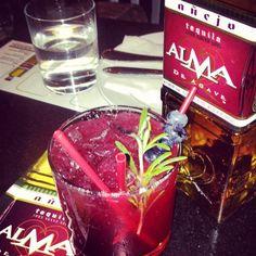 Acapulco Flor-  Alma de Agave añejo  Rosemary  Blueberries  Agave Nectar  1/2 ounce Grand Marnier