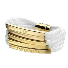Gold or Silver plated multi strand paracord bracelet with engraved bars from the Women Warriors Collection. From Stella Valle