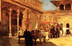 """songsofwolves: """" India by Edwin Lord Weeks (1849-1903) - Part X The Return of the Imperial Court from the Great Mosque at Delhi • The Rajah at the Palace of Amber (c.1888) • Elephants and figures in a..."""