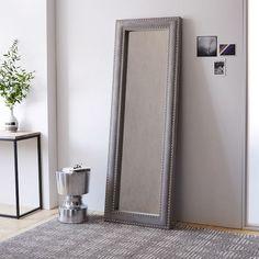 Upholstered Floor Mirror - Dove Gray Velvet | west elm