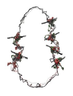Liana Pattihis. Necklace: Red Climbing Rose, 2016. Silver Trace Chain, Silver Light Trace Chain, Silver Cable Chain, Enamel. 105 cm. From series: Chained Interpretations.
