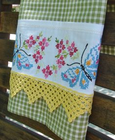 Butterfly Garden Vintage Embroidered and by TwoGirlsLaughing