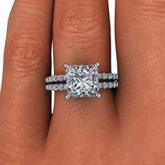 Forever Brilliant Moissanite and Diamond Princess Split Shank Engagement Ring 3.20 CTW