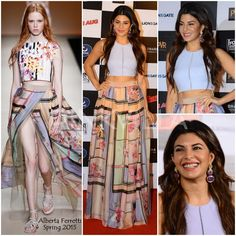 Jacqueline Fernandez in a printed chiffon Alberta Ferretti skirt from her Spring 2015 collection that she paired with her lavender Elizabeth and James crop top with matching Curio Cottage earrings.