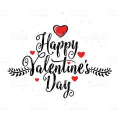Vector illustration of happy valentines day lettering greeting royalty-free stock vector art