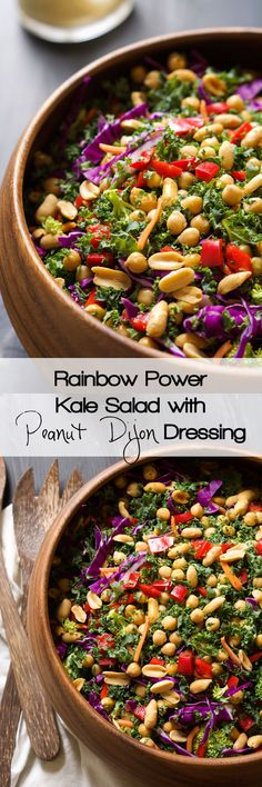 Rainbow Power Kale Salad with Peanut Dijon Dressing This colorful and nutrient dense Power Kale Salad is filled with crunchy vegetables, drizzled with a peanut dijon dressing and topped with salty peanuts! The perfect salad to fuel you up! Healthy Salad Recipes, Whole Food Recipes, Vegetarian Recipes, Cooking Recipes, Kale Recipes, Family Recipes, Kale Power Salad, Power Salat, Lactuca Sativa