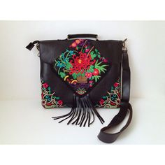 Black Leather Messenger w Fringes & Embroidery, Boho Hippie Handbag,... ($120) ❤ liked on Polyvore
