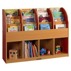 The Colorful Essentials Single-Sided Book Stand offers easy-to-reach shelves and cubbies for children and books, supplies and toy of all sizes.