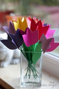 Paper Tulips 6. This project is meant for older kids who want to create something nice for mom as a lovely decoration for the window sill during spring. I bet this would be really cute using paint chips! ¯\_(ツ)_/¯