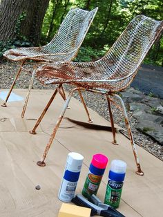How to Paint Metal Chairs: You'll need safety glasses and a mask, a stiff wire brush, a sanding block or fine-grit sandpaper, a clean rag, a drop cloth or cardboard, spray primer (use a dark primer under darker colors, a white primer under light colors), spray paint and clear spray lacquer (optional). From DIYnetwork.com