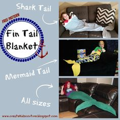 Shark / Mermaid Tail Blanket  Free Pattern rated Beginner Use fleece for a comfy blanket!  Perfect for boys, girls, and even adults!