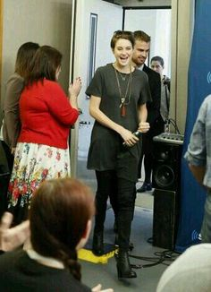 Shailene Woodley and Theo James arriving at SiriusXM radio show.