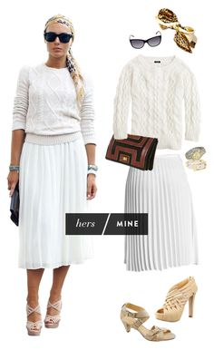 Pleated Mid-Calf Off-White Skirt, Cream Chunky Sweater, Leopard Print Scarf, Heels.