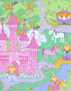 Timeless Treasures Fabric - Fairy Tale Princess and Castles - ConKerr Cancer Collection - Novelty Fabric