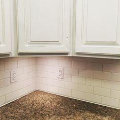 DIY Subway Tile #kitchenreno #farmhouse #paintingcabinets #imtired