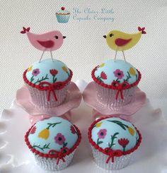 Hand Painted Birdie Cupcakes - by CleverLittleCupcake @ CakesDecor.com - cake decorating website