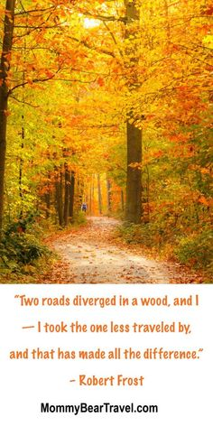 """Two roads diverged in a wood, and I — I took the one less traveled by, and that has made all the difference."" – Robert Frost"