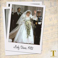 """#WeddingDress #Inspiration #LadyDiana  """"Abito che deve essere qualcosa che ha intenzione di passare alla Storia"""" questi erano i presupposti dell'#abitodasposa disegnato per il matrimonio di Lady D. celebrato nel 1981.   Realizzato in taffetà di seta color avorio e pizzi antichi, con uno strascico di oltre 7 metri, valutato all'epoca circa 9 mila euro. L'abito era anche decorato con ricami fatti a mano, paillettes e 10 mila perle."""